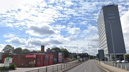Vista Tower stands opposite Stevenage fire station