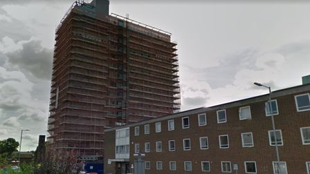 Vista Tower in Southgate Road during its conversion from offices to flats.