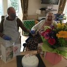 Peter and Ann celebrating Ann's birthday in a Bupa Care Home in St Albans