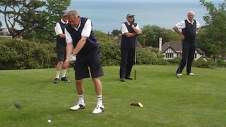 After the Taunton players have teed off, John Bainbridge driving on the first tee