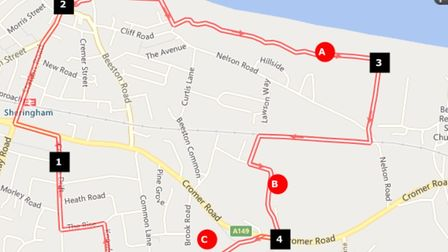 Map showing the walk route