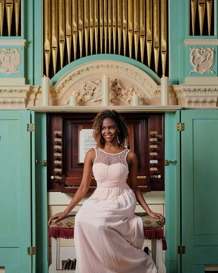 Stricly Come Dancing champion Oti Mabuse in the music room at Powderham Castle
