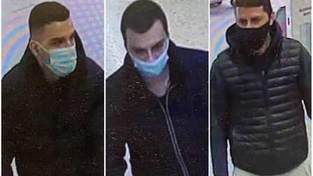 CCTV of three men police want to speak to over thefts from Asda in Norwich.