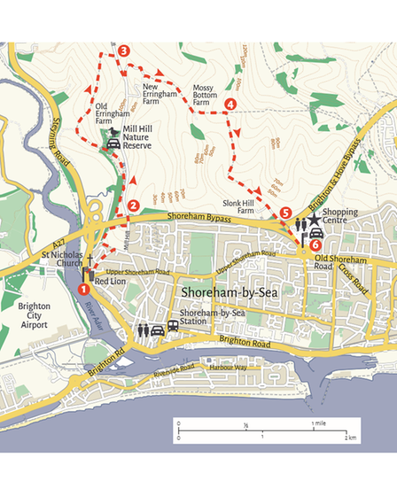 OS Map of Mill Hill and surrounding area in the South Downs and Shoreham-by-Sea