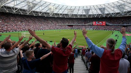 West Ham fans in the stands during the Premier League match at the London Stadium, London. PRESS ASS