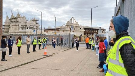 National Day of Reflection - outside Neasden Temple vaccination clinic