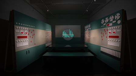 A show from London-based artist Mel Brimfieldincludes a constellation of fragmented theatrical sets