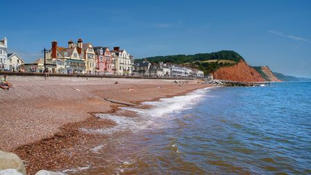 A view of Sidmouth, Devon, from the beach.