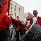 Albanians in Tirana celebrate the 100th anniversary of independence from the Ottoman Empire in November, 2012