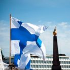 The flag of Finland flies in Helsinki