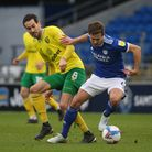 Mario Vrancic of Norwich and Will Vaulks of Cardiff City in action during the Sky Bet Championship m