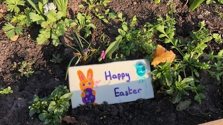 A 'happy Easter' planter at the Little Paxton Community Garden.