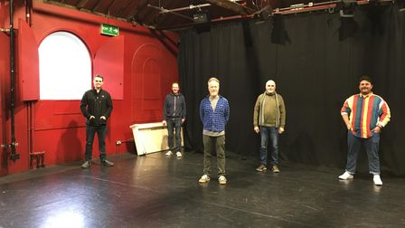 The Gallery Players taking stock of their new performance space at the former New Wolsey Studio.