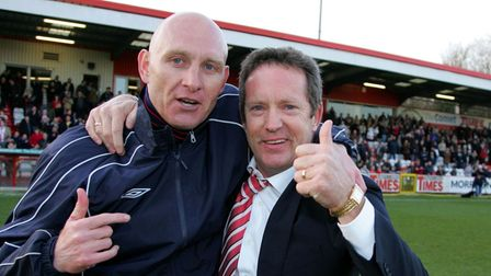 Mark Stimson and Stevenage chairman Phil Wallace.