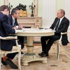 Lionel Barber, centre, and Henry Foy, left, interview Vladimir Putin in Moscow in June 2019