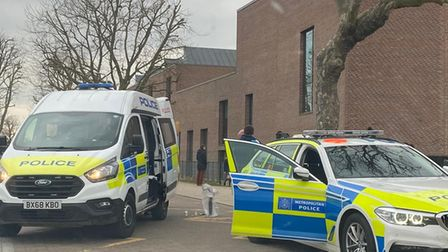 Five were arrested outside Drapers' Academy yesterday