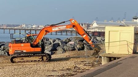 Work taking place to repair winter erosion of Felixstowe's beaches