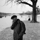 Robert Doisneau in the Square du Vert Galant, in Paris, in 1993 in Paris, France