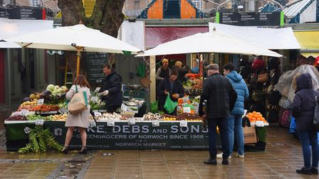 Christmas shoppers at Norwich Market. Picture: DENISE BRADLEY