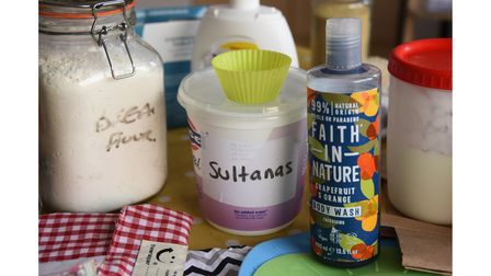 Refillable containers and reusable materials