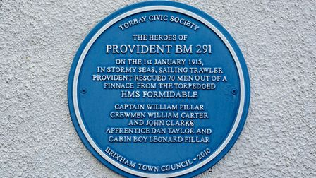 The blue plaque honouring 'The Heroes of Provident BM 291'
