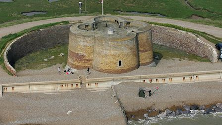 Aerial view of a Martello tower, Aldeburgh
