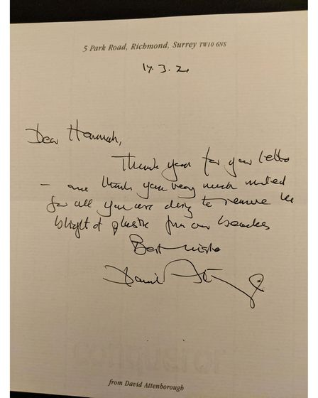 Sir David Attenborough's letter to Hannah Beaumont.