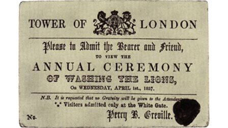 """Aticket to """"The Annual Ceremony of Washing the Lions"""" at theTower of Londonin London from 1857"""