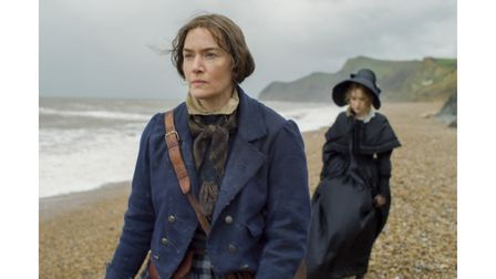 Kate Winslet as Mary Anning and Saoirse Ronan asCharlotte Murchison filming Ammonite in Dorset