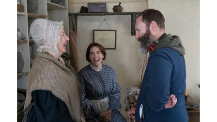 Gemma Jones as Molly Anning andKate Winslet as Mary Anning with Ammonite director Francis Lee