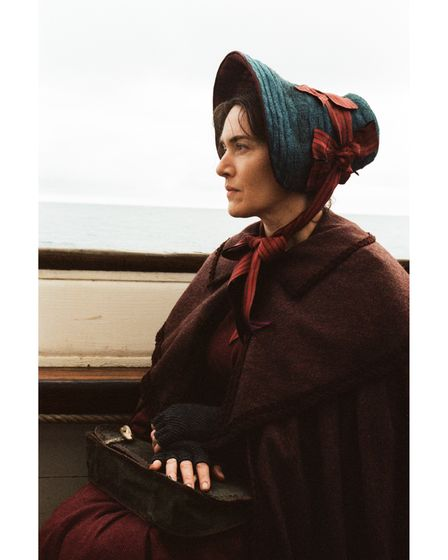 Kate Winslet as Mary Anning on the set in Lyme Regis