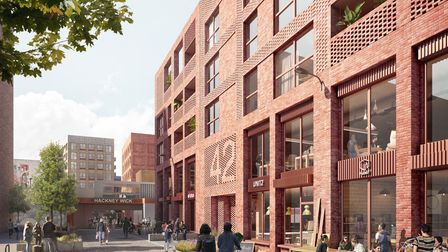 A computer-generated image shows plans to develop public spaces near Hackney Wick overground station.