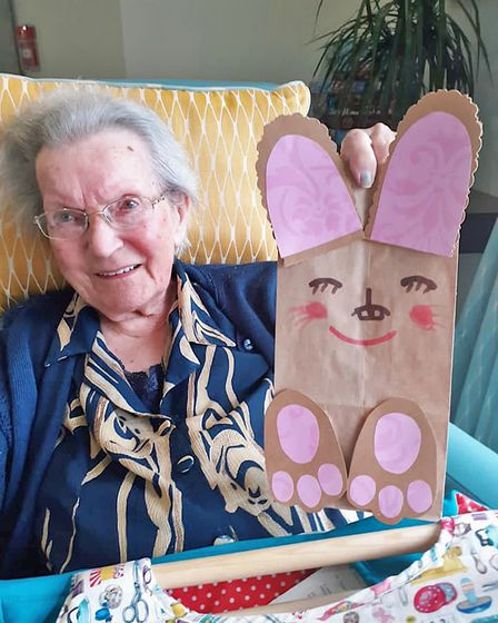 Ferrars Hall Care Home residentwith her Easter Bunny craft