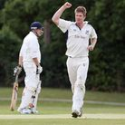 Jimmy Neesham celebrates a wicket for Upminster during the 2011 Essex League season (Gavin Ellis/TGS
