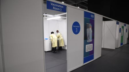 The NHS Nightingale facility at the Excel Centre, London, one of the seven mass vaccination centres