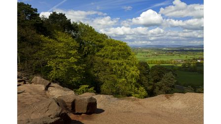 View of the countryside from the rocky sandstone escarpment of Alderley Edge