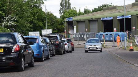 Drivers queuing on Swanton Road to access Mile Cross Recycling Centre in Norwich.