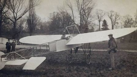 An early photograph of flying on Portholme Meadow. Date unknown, but probably 1910.