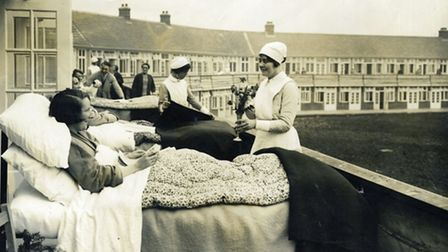 TB patients in beds on the balconies at Papworth in 1932.