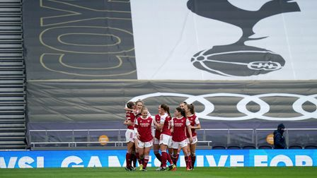 Arsenal's Vivianne Miedema (second left) celebrates scoring their second goal against Tottenham