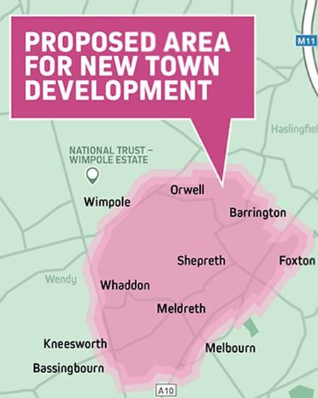 The proposed location of the new town which Thakeham is looking to develop in South Cambs
