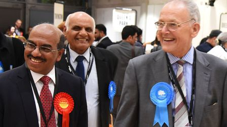 All smiles: Parvez Ahmed (Lab) poses with Reg Colwill (Con) and Suresh Kansagra (Con). All three men