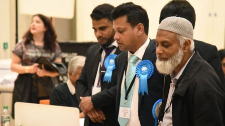 Conservatives at last night's count. Picture: Ken Mears
