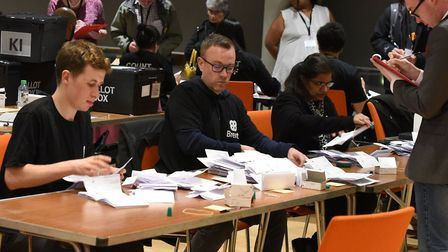 The local council election count taking place at the Brent Civic Centre. Picture: Ken Mears