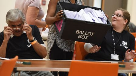 The local council election count taking place at the Brent Civic Centre