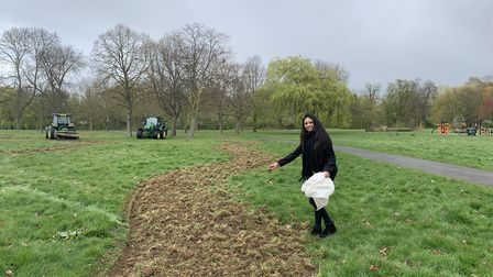 Cllr Krupa Sheth sowing wildflowers in one of 22 'wildflower meadows'. Picture: Brent Council