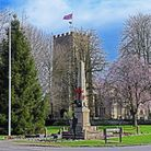 Eaton Socon green with the war memorial and St Mary's Church.
