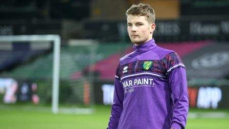 Jacob Sorensen of Norwich City warming up during the Sky Bet Championship match at the Liberty Stadi