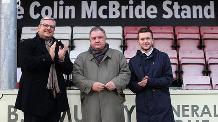 The newly named Colin McBride stand is unveiled at Hornchurch's Bridge Avenue ground