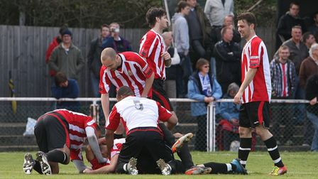 Hornchurch celebrate Michael Spencer's winning goal in the play-off final